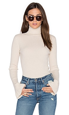 x REVOLVE Ribbed Turtleneck Bell Sleeve Sweater en Crema