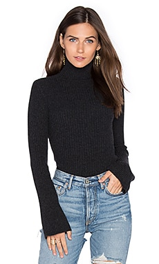 x REVOLVE Ribbed Turtleneck Bell Sleeve Sweater in Lead