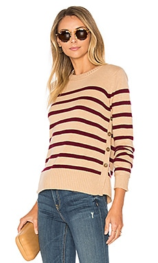 Breton Side Button Stripe Sweater en Toffee & Pinot