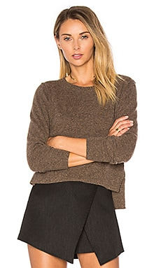 Crop Crew Neck Sweater en Hazelnut