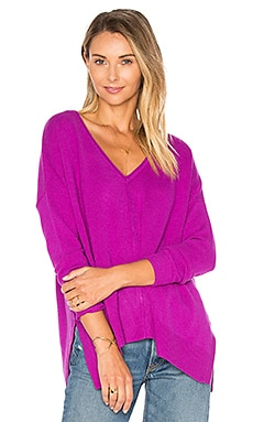 Side Slit V Neck Sweater in Hollyhock