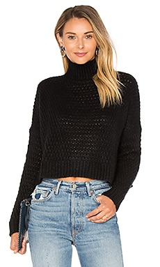 Boxy Mock Neck Crop Sweater in Black