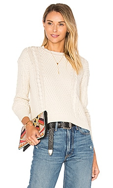 Boxy Cable Crew Neck Sweater in Cream