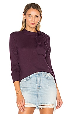 Tie Neck Sweater in Black Cherry