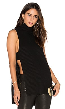 Shaker Stitch Apron Sleeveless Sweater in Ebony