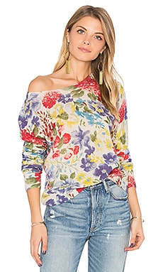 Crop Floral Sweater en Hemp & Bright Combo