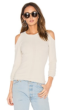 Pointelle Cold Shoulder Sweater in Sand