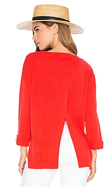 High Low Open Back Sweater en Lava