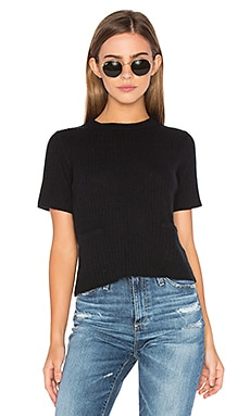 Ribbed Boxy Tee in Black