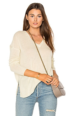 Side Slit V Neck Sweater in Sundrop