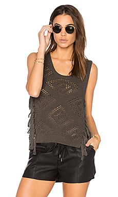 Fringe Sleeveless Sweater in Military