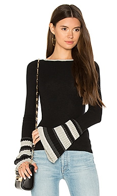 Ribbed Pleat Cuff Sweater