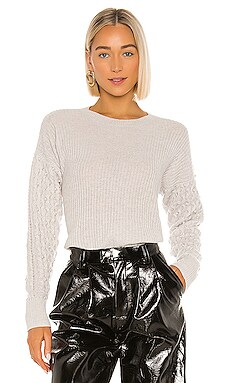 Shaker Crew With Pearl Cable Sleeves Sweater Autumn Cashmere $360