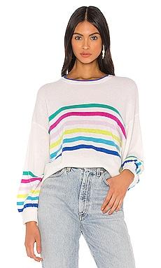 Rainbow Striped Balloon Sleeve Sweater Autumn Cashmere $86