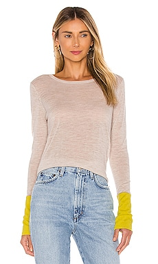 Contrast Sleeve Crew Sweater Autumn Cashmere $275