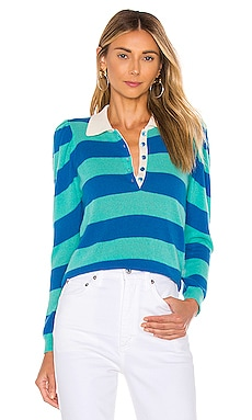 Puff Sleeve Rugby Stripe Polo Autumn Cashmere $275