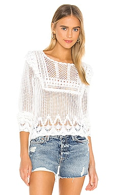 Pointelle Crochet Bib Front Crew Sweater Autumn Cashmere $198 NEW ARRIVAL