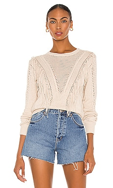 Cable & Mesh Fringe Crew Sweater Autumn Cashmere $245 NEW