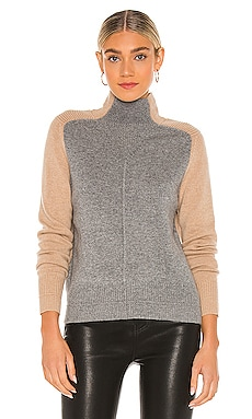 Color Block Moto Funnel Sweater Autumn Cashmere $360 NEW