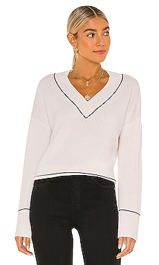 Boxy Wide Sleeve V With Contrast Stitching Sweater Autumn Cashmere $375 NEW