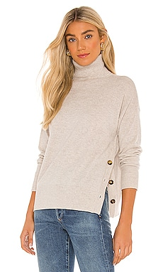Side Buttoned Mock Sweater Autumn Cashmere $340 NEW