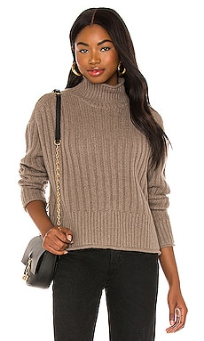Ribbed Mock Neck Sweater Autumn Cashmere $375 NEW