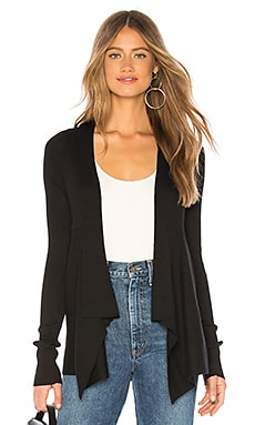 Solid Rib Drape Cardigan in Black