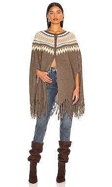 Fair Isle Pointelle Fringe Poncho Autumn Cashmere $395