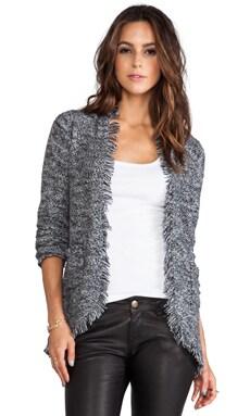 Autumn Cashmere Tweed Open Jacket in Ebony/Vanilla