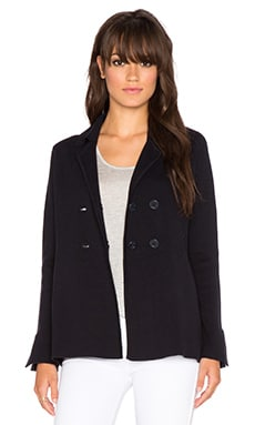 Autumn Cashmere Milano Double Breasted Peacoat in Navy Blue