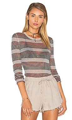 Autumn Cashmere Stripe Long Sleeve Top in Granola Multi