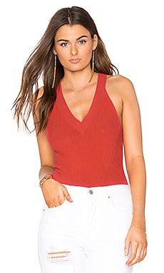 Rib Sleeveless Halter Top in Hibiscus