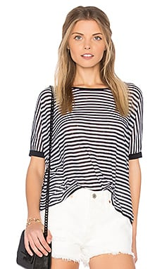 Stripe Distressed Crop Tee in Navy Blue & Platinum