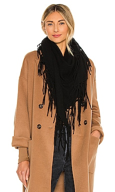 Autumn Cashmere Fringed Triangle Scarf in Black