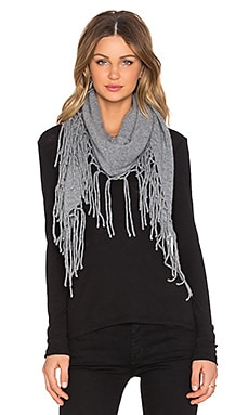 Autumn Cashmere Fringed Triangle Scarf in Cement