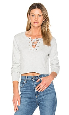 Lace Up Crop Sweater in Heather Grey
