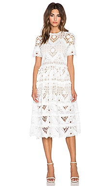 Alexis Benati Crochet Midi Dress in White Crochet