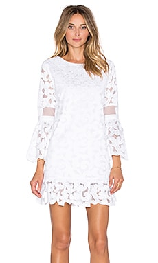 Alexis Luna 3/4 Sleeve Lace Dress in White Lace