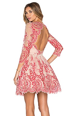Bella Mini Dress in Red Lace