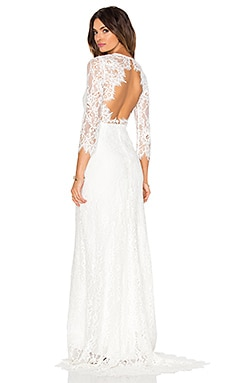 Akira Lace Gown in White