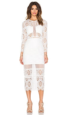 Alexis Maud Midi Dress in Off White Lace