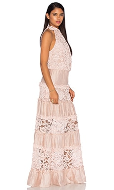 Benette Long Dress en Dentelle Blush