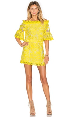 Kit Short Dress in Yellow Embroidery