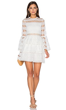 Gem Dress in White Embroidery
