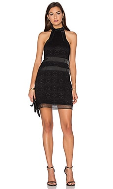 Alexis Robin Short Dress in Black Organza Lace Embroidery