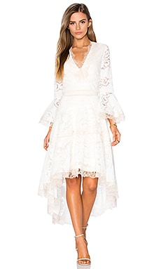 Alexis Ash Hi Low Dress in Pearl White