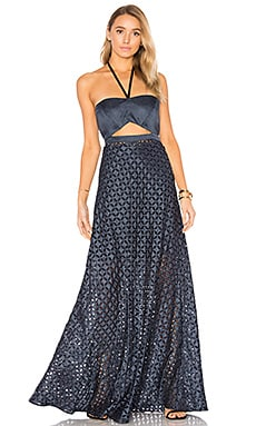 Abriana Gown in Navy Dot