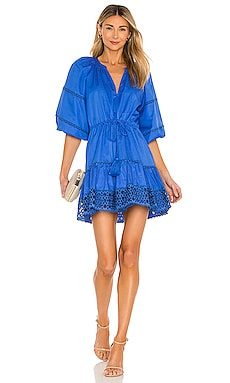 Daksha Poplin Dress with Embroidery Trim Alexis $396 NEW