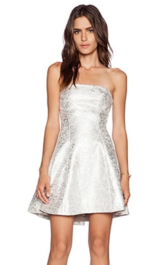 Alexis Taye Strapless Dress in Metallic Silver