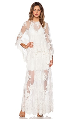 Lacey Lace Maxi Dress in Cream Embroidery